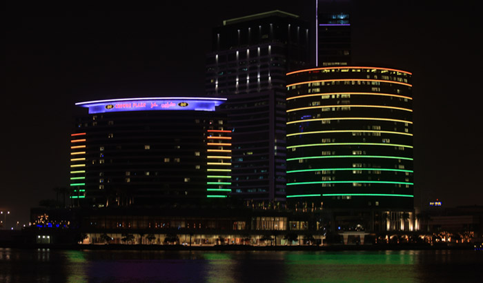 Dubai hotels facade color changing lighting