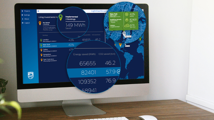 Philips Lightings opkoblede belysningssystem InterAct Office omfatter styringssoftware og analyser til at give mulighed for databaseret beslutningstagning