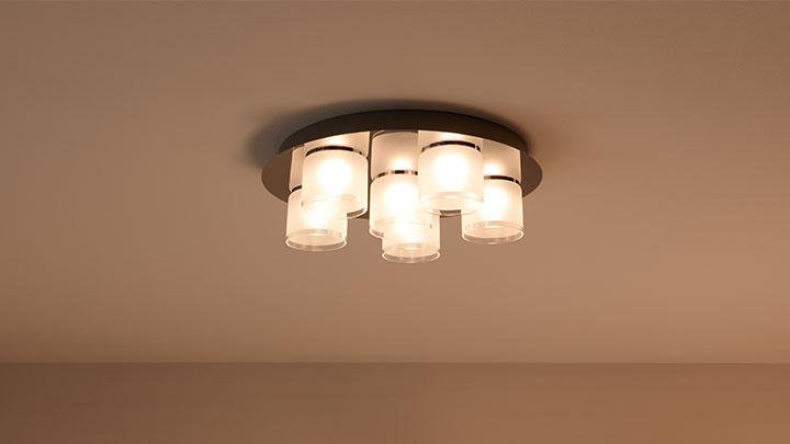 Loftmonteret lamper med Philips LED spots